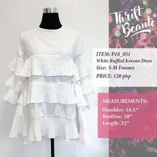 White Ruffled Korean Dress ( Can Be Long Top Also)