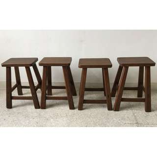 Vintage Solid Wood Rectangle Stools