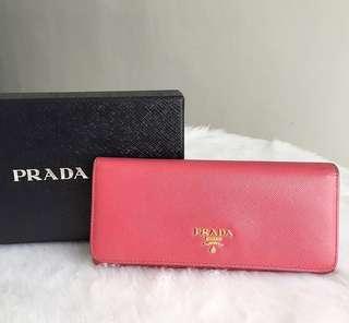 prada saffiano long wallet authentic