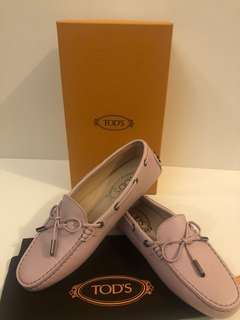 (Pink) Tod's Gommino Moccasins in Leather