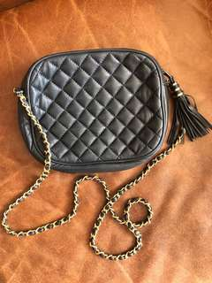 Chanel Inspired Vintage Navy Crossbody