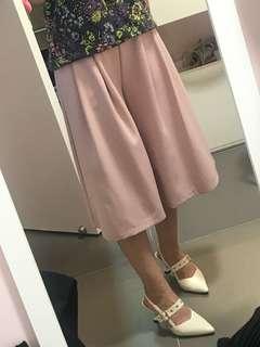 韓國粉紅中長裙褲