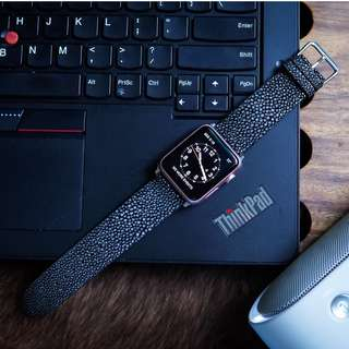Premium Black Stingray Handmade Strap for Apple Watch 38/42mm, Nike+, Sport Edition, Gears3