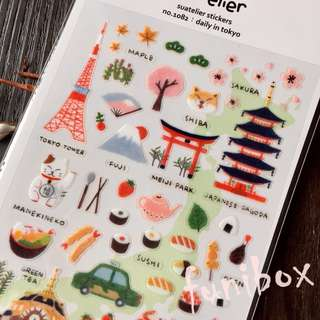 *funibox*韓國suatelier手繪東京日常pvc貼紙/東京鐵塔日本旅遊貼紙/手作相冊日記卡片名信片手帳裝飾貼紙
