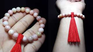 Genuine Pink Opal Bracelet With Tassel