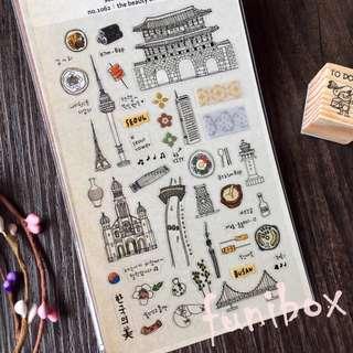 *funibox*韓國suatelier手繪韓國風情pvc貼紙/光化門首爾韓國旅遊貼紙/手作相冊日記卡片名信片手帳裝飾