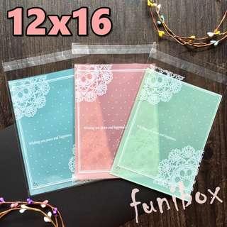 *funibox* 【12X16大號100入】清新粉嫰蕾絲圓點透明opp自黏袋(3色選)/糖果餅乾烘焙飾品手工皂包裝袋