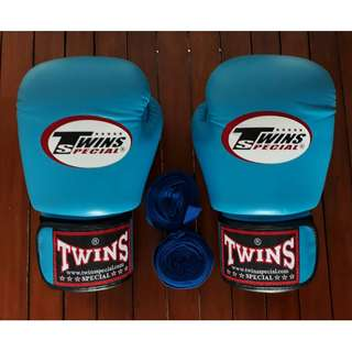 Twins Special 12 oz. Boxing Gloves (Light Blue) with Everlast Hand Wraps (Blue)