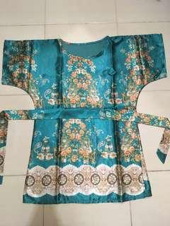 Satin green batik dress