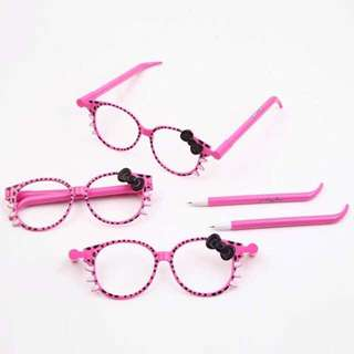 Clearance Stock !! Hello Kitty 2 in 1 Glasses + Pen Creative Gift 眼睛笔