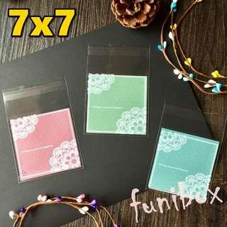 *funibox* 【7X7小號100入】清新粉嫰圓點蕾絲透明opp自黏袋(3色選)/糖果餅乾烘焙飾品手工皂包裝袋