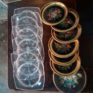 Vintage~70s 歐洲水晶膠&花卉圖案~杯墊2套