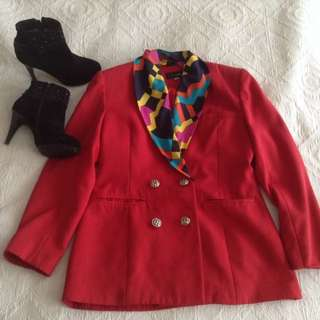 Red Double Breast Jacket With Scarf Collar