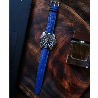 Premium Blue Stingray Handmade Strap for 20mm High End Watches