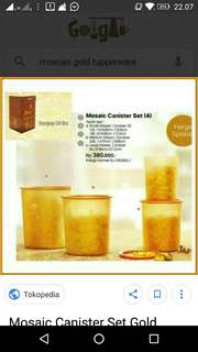 Canister set gold tupperware