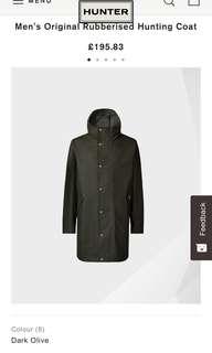 全新 Hunter Men's Original Rubberised Hunting Coat Size XS black color Only can trade at Kowloon Bay Mtr Station