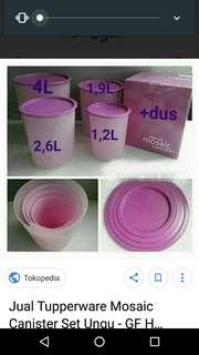 Canister set ungu tupperware dpt 4 pc sesuai pic