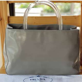 Authentic Prada Gray Patent Leather Satchel with clear acrylic handles