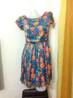 Blue Floral Dress (Small-Medium frame)