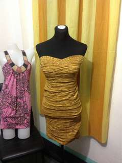 Brandnew Sexy Tube Dress in Golden Brown (Small frame) with Tag