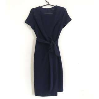 Zalora Elegant Wrap Dress (Navy Blue)