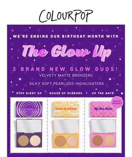 🚚 [NEW IN] Colourpop the glow up 3 brand new glow duos PO