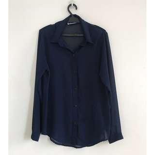Sheer Long-sleeve Button Down Blouse (Dark Blue polo)