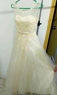 Wedding Dress 結婚姊妹裙 婚紗 珍珠花朵紗裙 宴會裙 洋裝