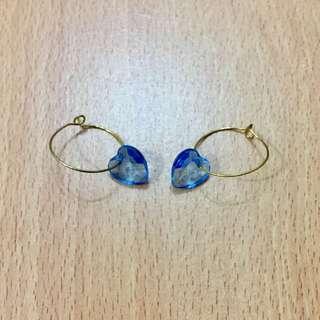 [[可議價]] 透心藍色心型耳環