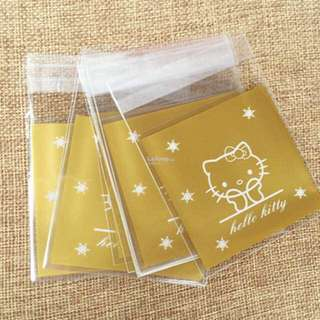 50 For $5 !! 10*10cm + 3cm Cute Kitty Self Adhesive Cookies Bag Gold
