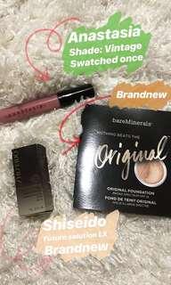Anastasia liquid lipstick, Shiseido & foundation bundle