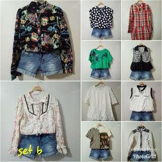 Korean preloved fashion blouse, for take all 50pcs for 2500