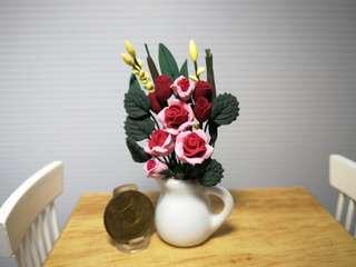 Dollhouse Miniature Flowers : Rose flowers arrangements