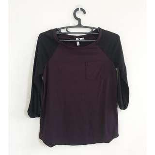 H&M Raglan Shirt (Maroon and Black)