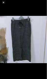 (送)針織彈性條紋開衩長裙