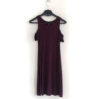 Forever 21 Cold Shoulder Dress (Maroon)
