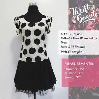 Polka Dot Faux Blouse A-Line Dress