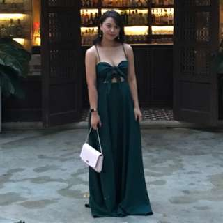Dark Green Thin Strap Double Bow Gown