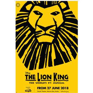 The Lion King Two Cat 3 Reserve Tickets Marina Bay Sands Theatre Jun 30th