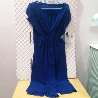 elegant blue dress w free brooch