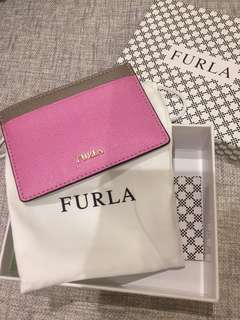 Furla cardholder (pink + grey) with dust bag & box