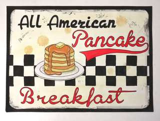 Watercolor Hand-Painted Vintage Sign (Pancake)