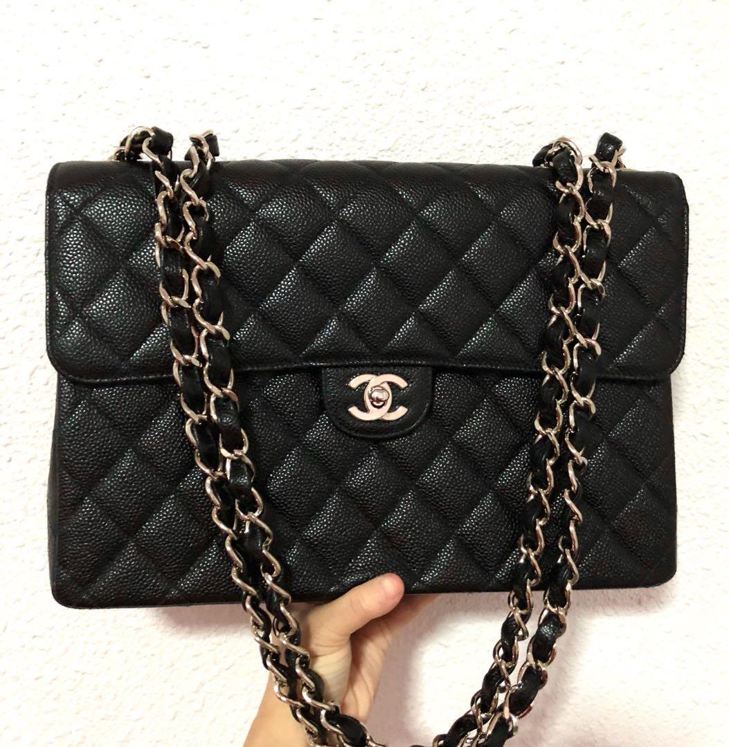 b0c856e44deba0 Authentic Chanel Caviar Jumbo Flap Bag with Solid Silver Hardware ...