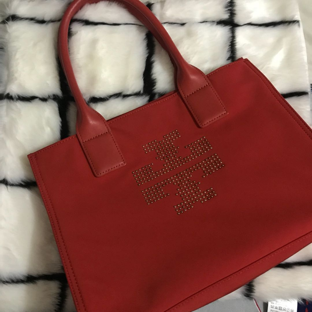 Authentic Tory Burch Ella Mini Studded Tote In Jasper Color Nylon Preloved Womens Fashion Bags Wallets On Carousell