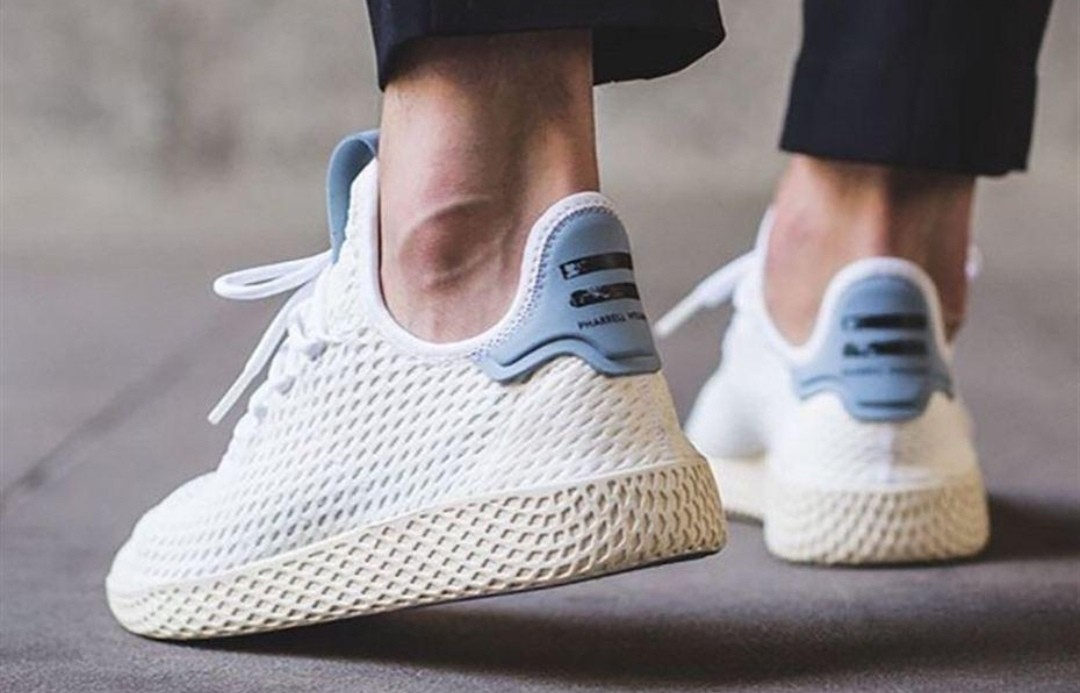 339df2bc9f1e9 Adidas Pharrell William Tennis Hu White With Tactile Blue These modern