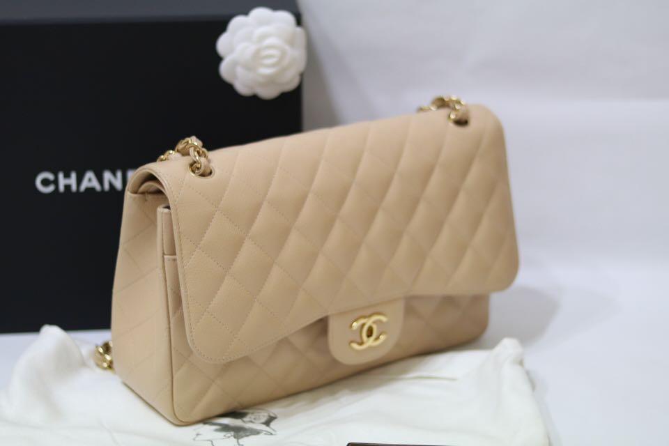 6f9f1a4d865b Chanel Beige Clair Caviar Jumbo Double Flap, Luxury, Bags & Wallets,  Handbags on Carousell
