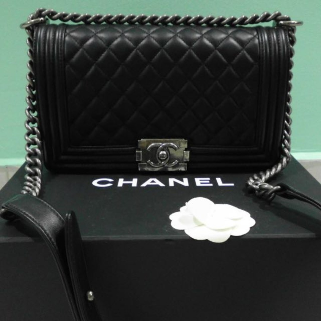 796818c0f02 Chanel Boy Medium Lambskin, Luxury, Bags & Wallets, Handbags on ...