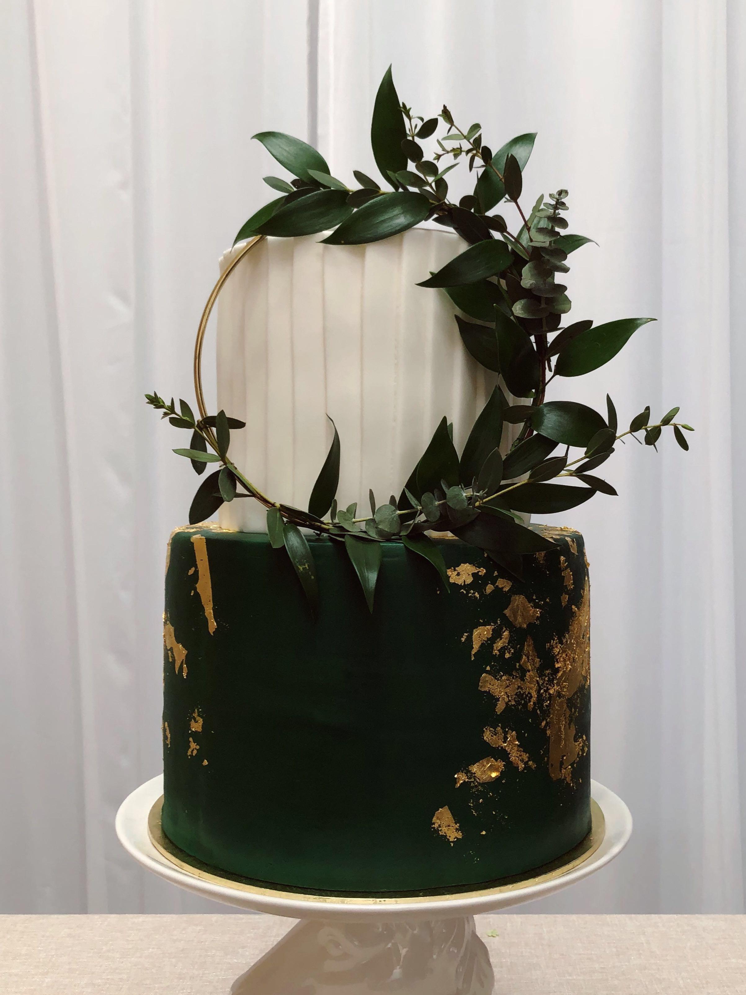 Emerald Green Gold Foil Wedding Dummy Cake Food Drinks Baked