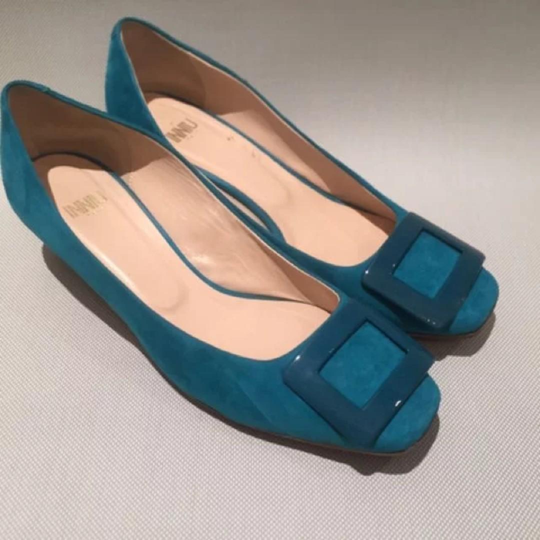 61787acfcc7 INNIU Brand Turquoise Suede Low Heels.