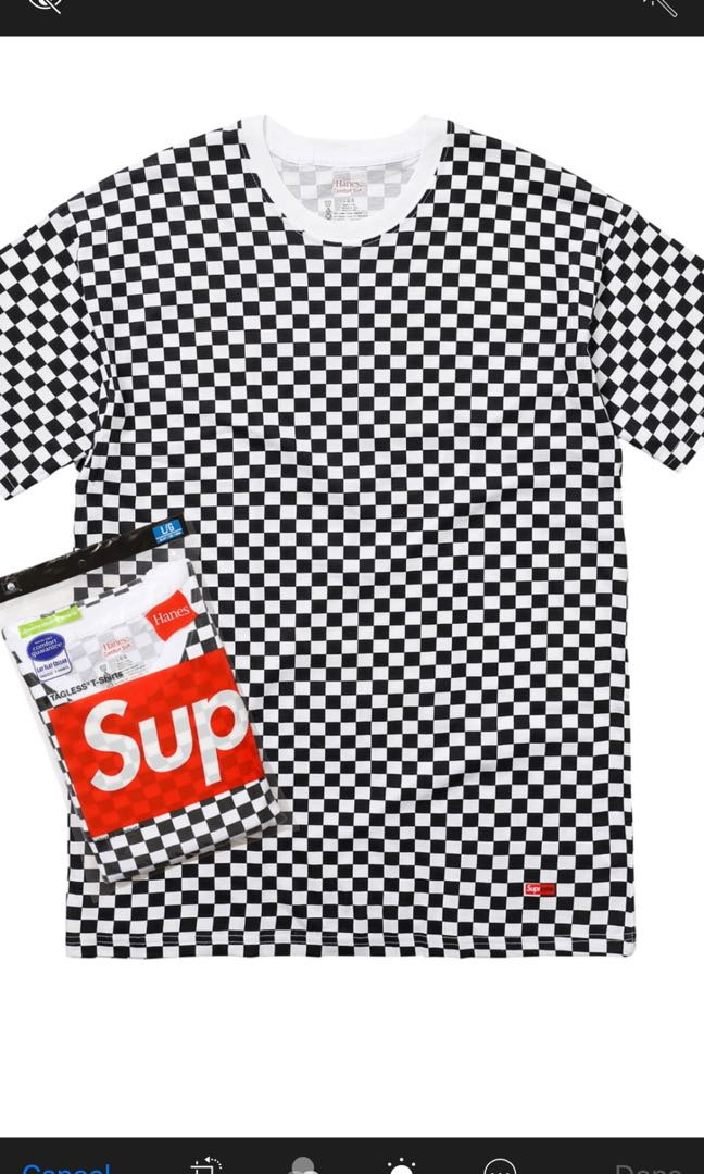 2c6ced28b Supreme x Hanes checkers t shirt, Men's Fashion, Clothes, Tops on Carousell